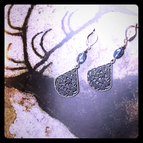 Swirling Dangle Kyanite Earrings